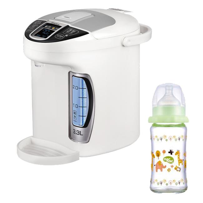 小獅王辛巴simba 智能六段式定溫調乳器(S5)+nac nac 吸吮力學寬口耐熱玻璃奶瓶(240ml)