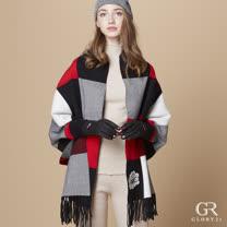 【GLORY21】緹花格紋披肩外套(外套)(黑)