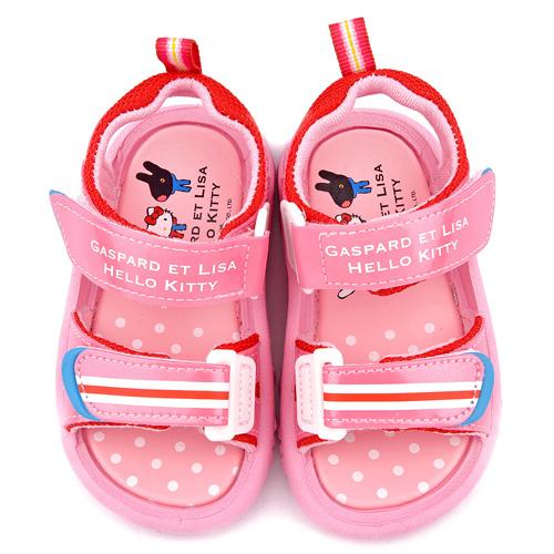 童鞋城堡-麗莎與卡斯伯xKitty 中童 清新簡約款涼鞋GK4002-粉