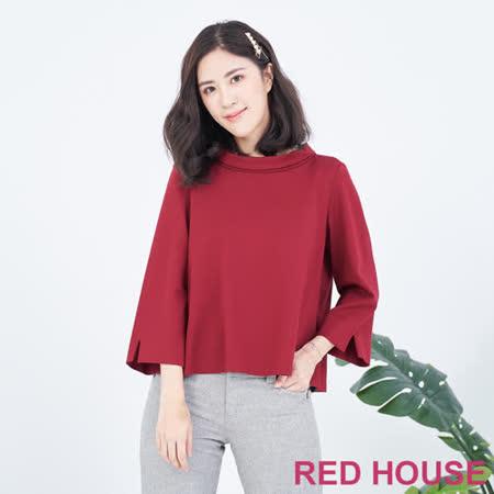 RED HOUSE  翻領拼接格紋棉上衣(紅)