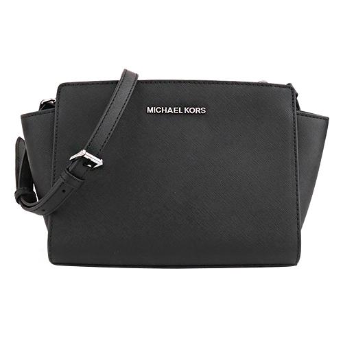 MICHAEL KORS - 銀字防刮皮革手提/肩斜背蝙蝠包(黑)小