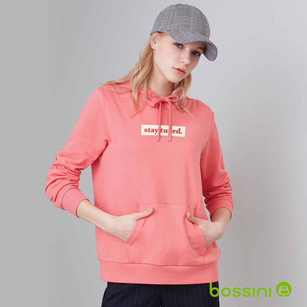 bossini女款-純棉連帽厚棉T恤(玫紅色)