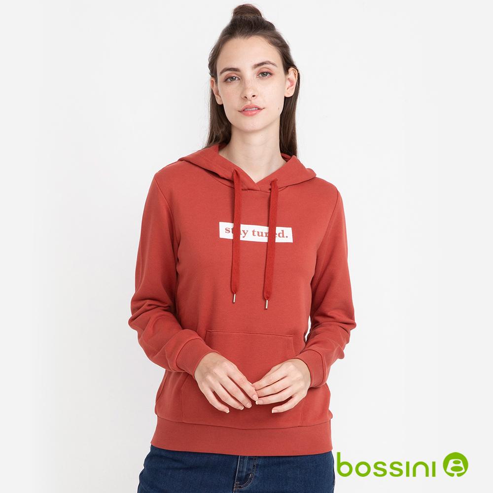 bossini女款-純棉連帽厚棉T恤(磚紅色)