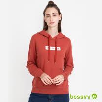 bossini 女款-純棉連帽厚棉T恤(磚紅色)