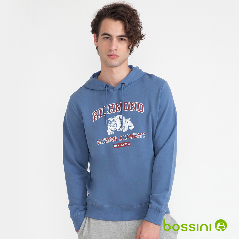 男款-純棉連帽厚棉T恤(淺藍)