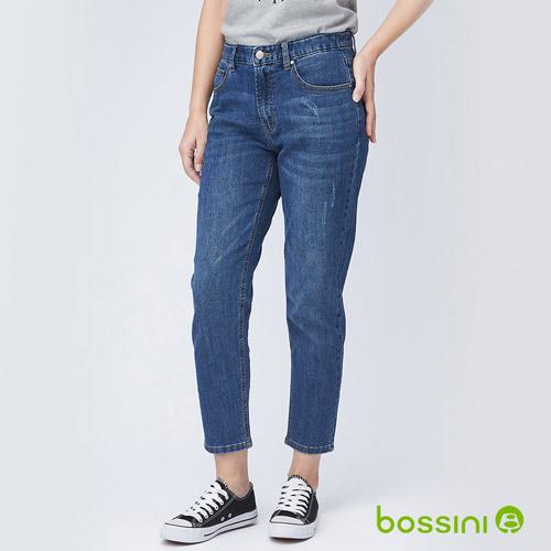 bossini女裝-寬鬆剪裁九分牛仔褲淺藍