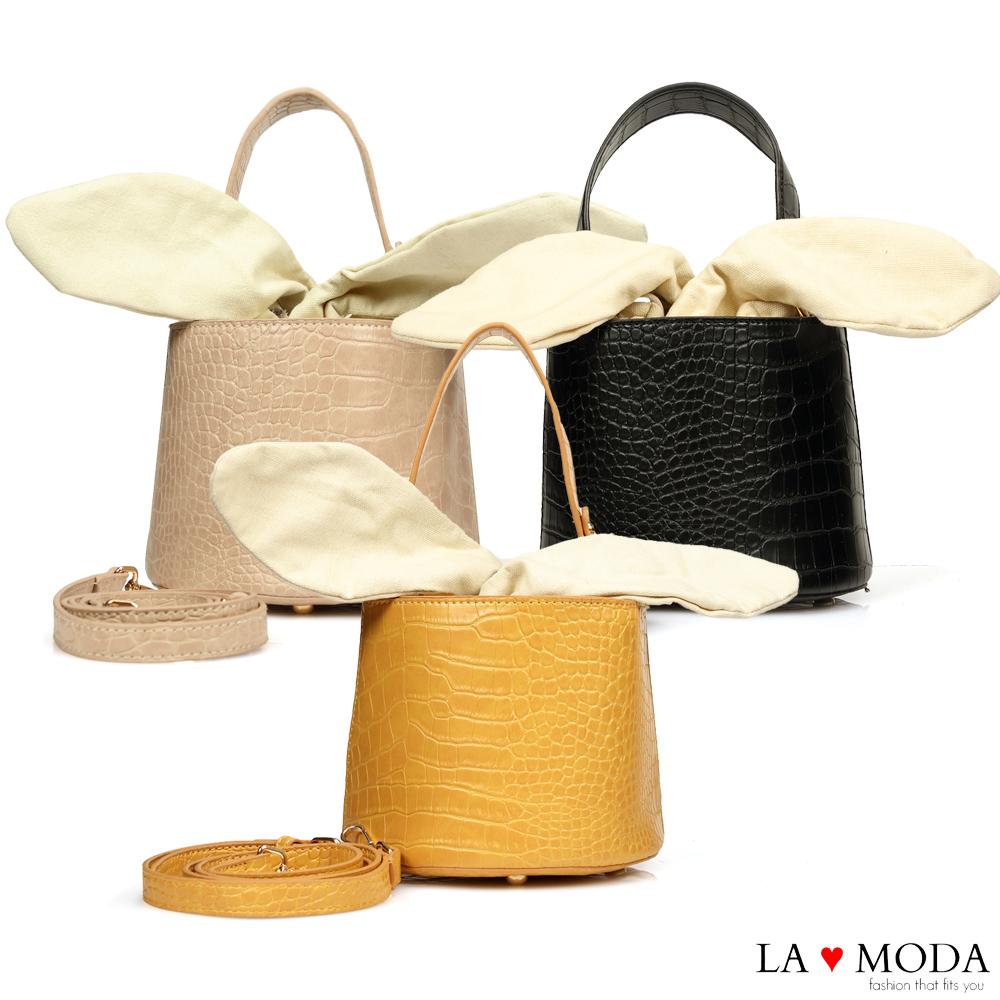La Moda 創意滿點超CUTE大耳朵設計蛇紋壓紋面料肩背桶包(共3色)