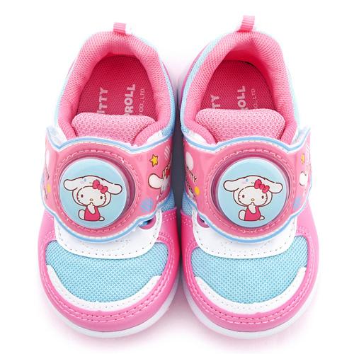 童鞋城堡-Kitty X 布丁狗聯名款 中童 簡約透氣LED電燈運動鞋KT7188-藍