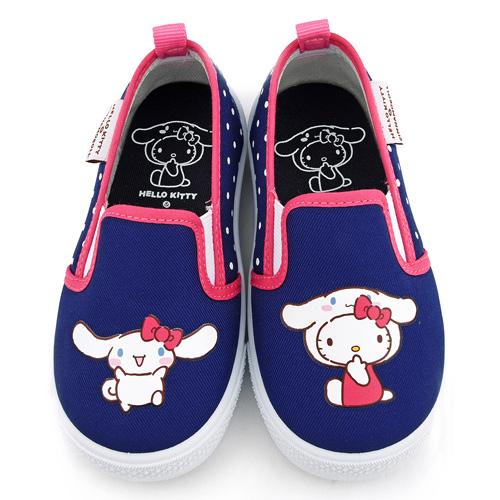 童鞋城堡-Kitty X 布丁狗聯名款 中童 素面質感室內外休閒鞋KT7196-藍