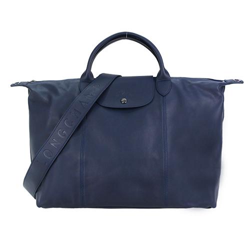 LONGCHAMP Le Pliage Cuir 系列小羊皮寬背帶短把折疊水餃包(大/海軍藍)