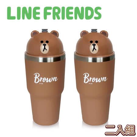 LINE FRIENDS熊大 陶瓷真空保溫杯2入