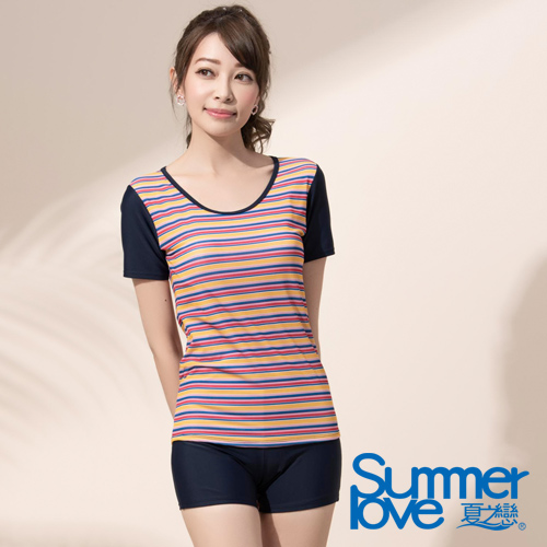 夏之戀SUMMERLOVE 大女短袖衝浪裝二件式E17796