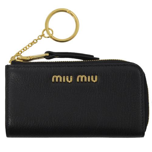 MIU MIU 浮雕LOGO全牛皮鑰匙零錢包.黑