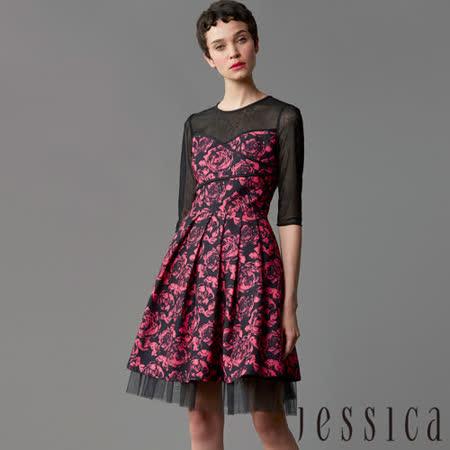 JESSICA 蕾絲印花拼接修身洋裝