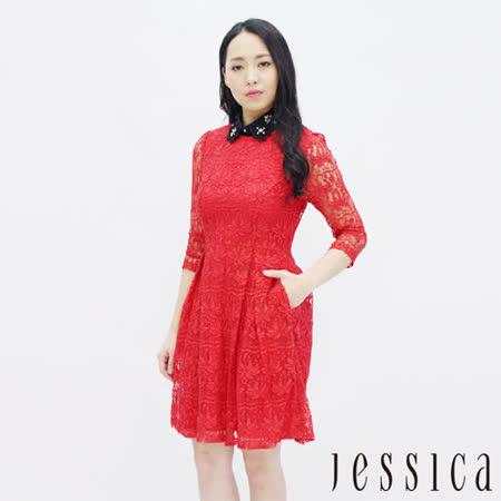 JESSICA 絕美蕾絲修身洋裝(紅)