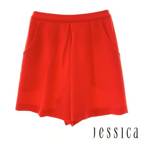 JESSICA 時尚打褶造型短褲(橘紅)
