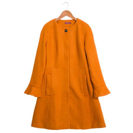 JESSICA 素面簡約喇叭袖大衣(橘)