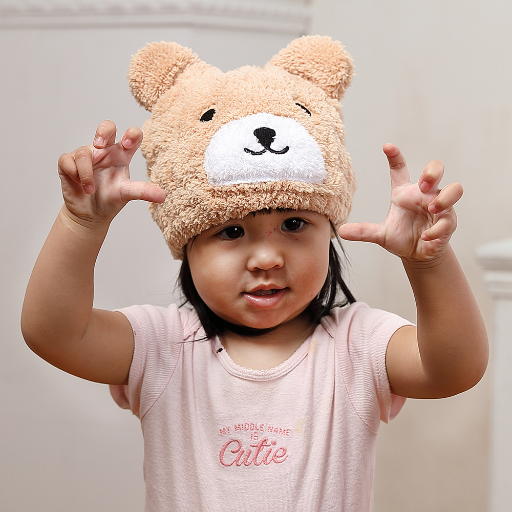 【MORINO摩力諾】超細纖維動物造型速乾兒童浴帽 毛帽(小熊)