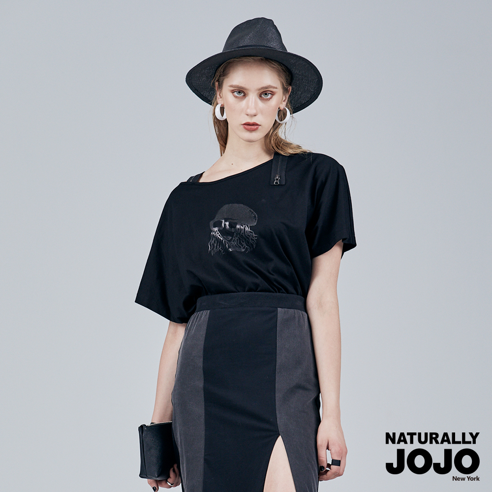【NATURALLY JOJO】 肩拉鍊印花設計上衣 (黑)