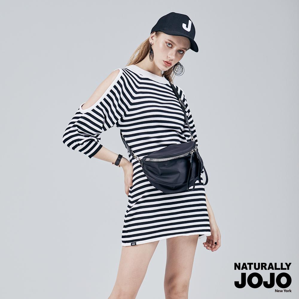 【NATURALLY JOJO】 露肩條紋針織洋裝 (黑白)
