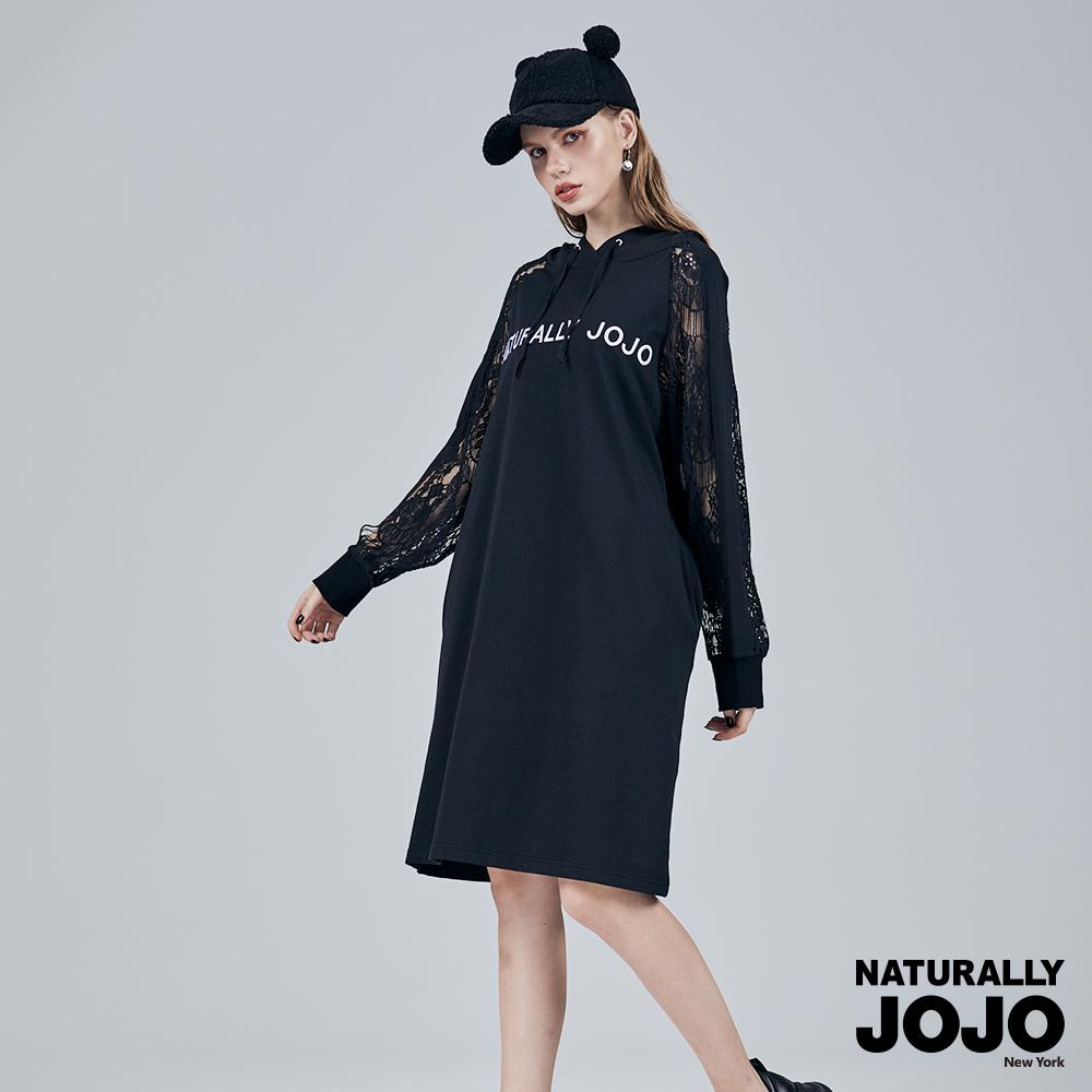 【NATURALLY JOJO】 蕾絲拼接連帽洋裝 (黑)