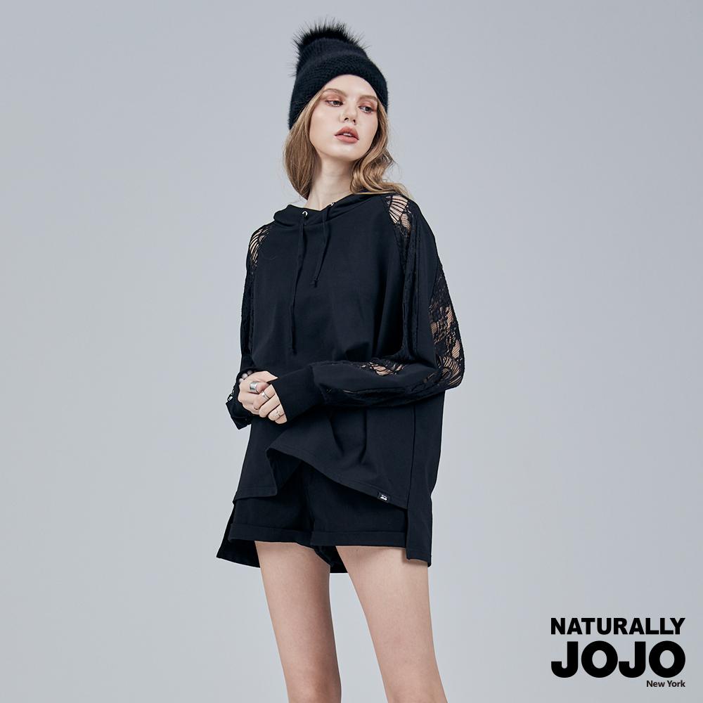 【NATURALLY JOJO】時尚拼接蕾絲帽T (黑)