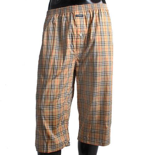 BURBERRY 經典大格紋棉質七分居家褲-駝色
