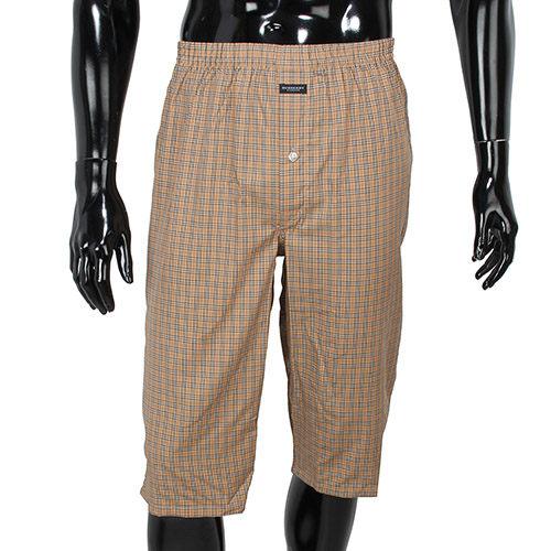 BURBERRY 經典小格紋棉質七分居家褲-駝色
