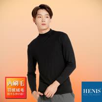 【HENIS】日の溫感 內刷毛超輕羽感機能保暖 韓系高領 (黑)