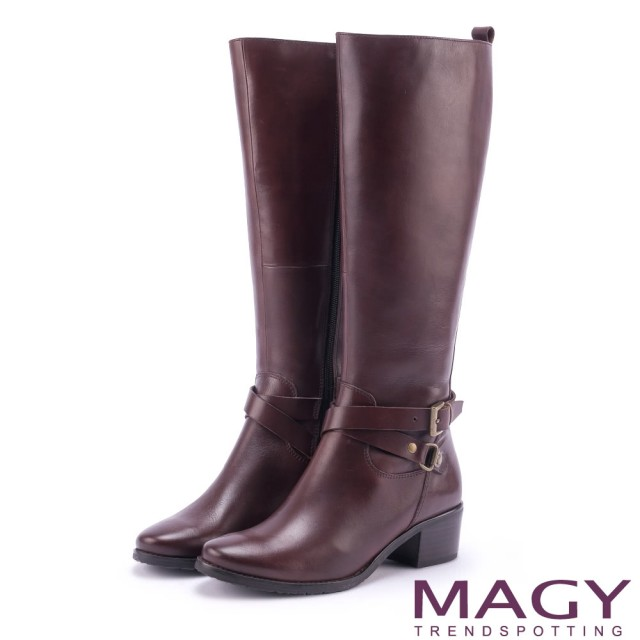 【MAGY】經典騎士 簡約雙皮帶扣環長靴(咖啡)