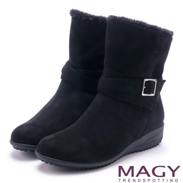 【MAGY】暖冬時尚 2WAY扣環捲毛絨布短靴(黑色)