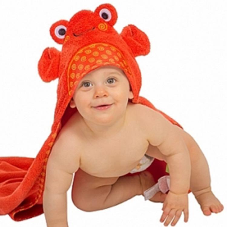 ZOOCCHiNi 可愛動物連帽浴巾/保暖毯-螃蟹(0-18m)