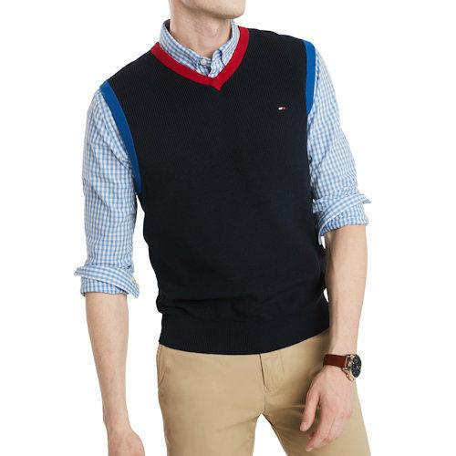 【Tommy Hilfiger】2019男時尚對比色深藍V領毛衣背心【預購】