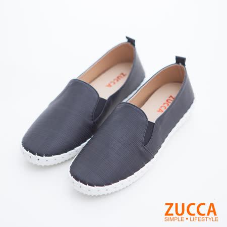 ZUCCA 細格紋休閒平底鞋-黑色