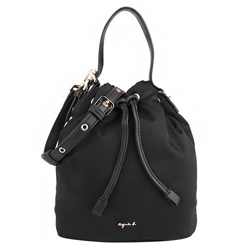agnes b.- 立體金小b logo 尼龍束口斜背水桶包(黑)mini