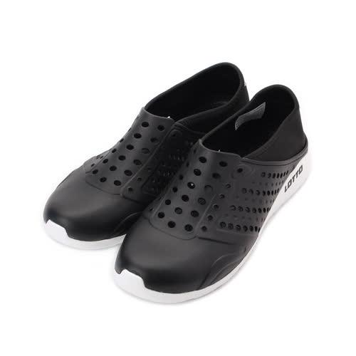 LOTTO 透氣排水洞洞鞋 黑 LT7AMS5360 男鞋 鞋全家福