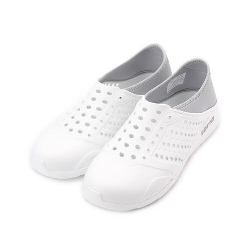 LOTTO 透氣排水洞洞鞋 白 LT7AMS5369 男鞋 鞋全家福