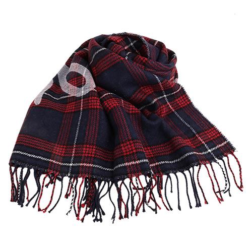agnes b.-  SPORT b. 紅藍白格紋&大字LOGO羊毛流蘇大披肩