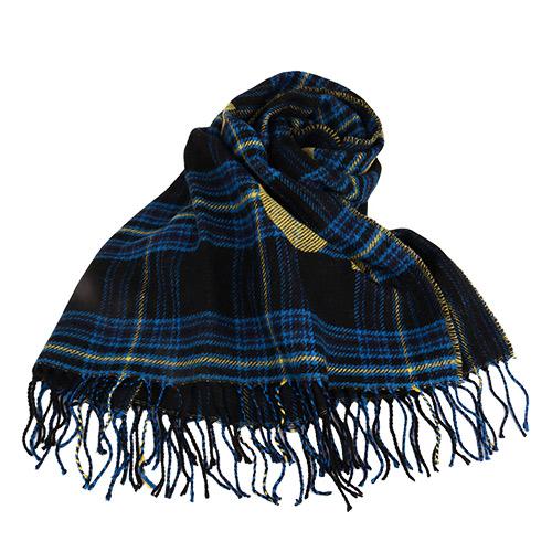 agnes b.-  SPORT b. 黃藍黑格紋&大字LOGO羊毛流蘇大披肩