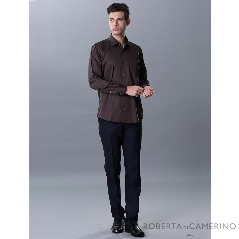 ROBERTA諾貝達 進口素材 台灣製 休閒簡約 純棉沉穩長袖襯衫 咖啡