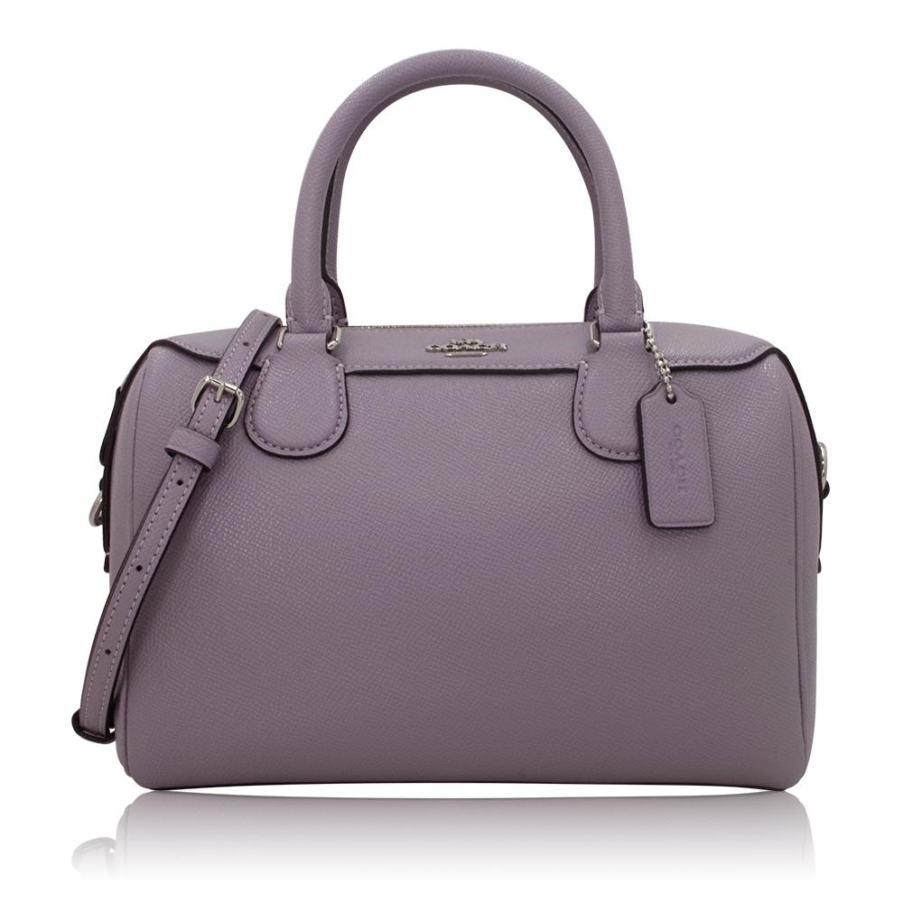 COACH 經典LOGO防刮皮革手提/斜背波士頓包-紫色