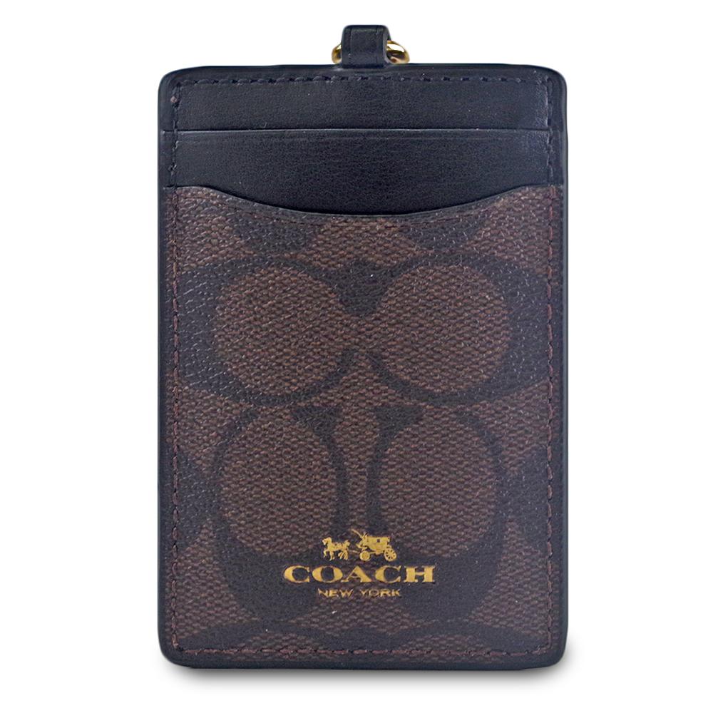 COACH LOGO防刮皮革證件票卡夾-咖啡色/黑色