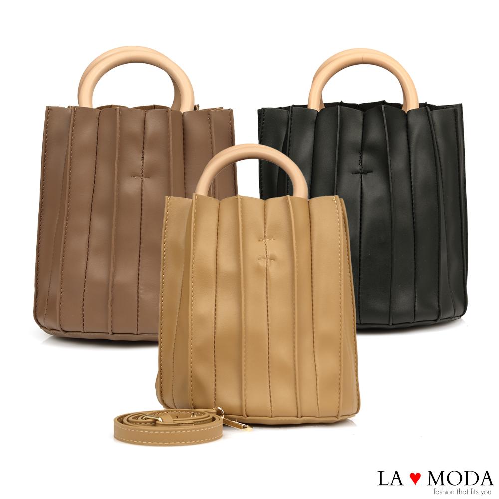 La Moda質感設計滿點皺摺設計木質手把肩背手提圓筒包(共3色)