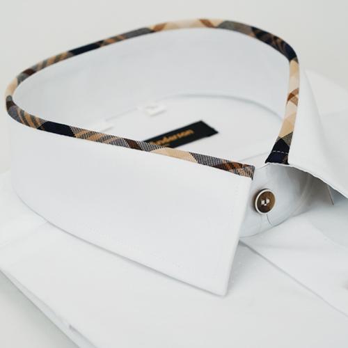 【金安德森】經典格紋繞領白色吸排窄版長袖襯衫
