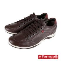 【ferricelli】Azera牛皮綁帶緩衝彈性墊休閒運動鞋 深咖啡(F42525-COF)