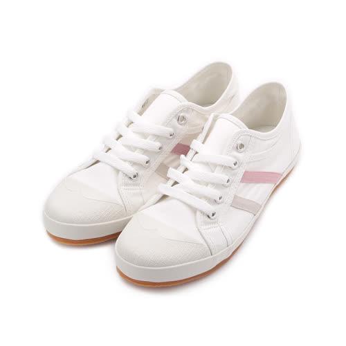 ARRIBA 簡約雙線帆布鞋 白 AB8091 女鞋 鞋全家福