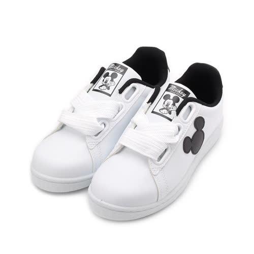DISNEY 米奇寬綁帶休閒鞋 白黑 DW5635 女鞋 鞋全家福