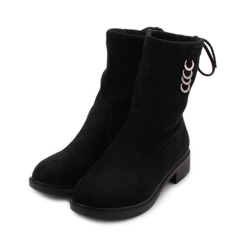 RIN RIN 套式內增高中筒靴 黑 女鞋 鞋全家福