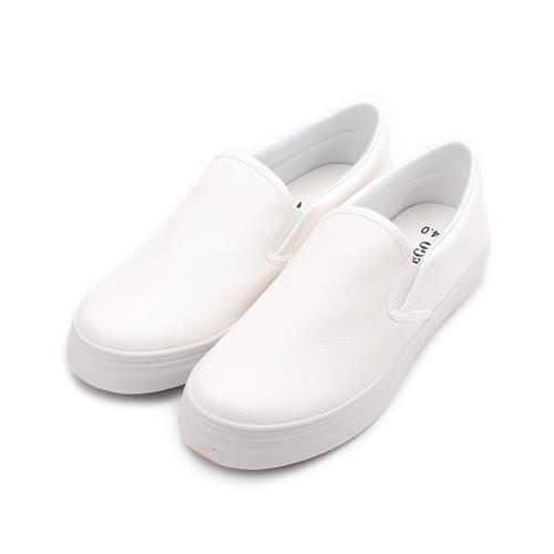 T-EGO 素面套式懶人鞋 白 女鞋 鞋全家福