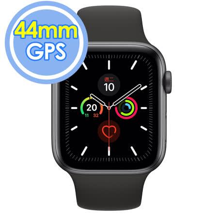 Apple Watch Series 5 GPS 44公釐 太空灰色鋁金屬錶殼搭配黑色運動型錶帶智慧手錶